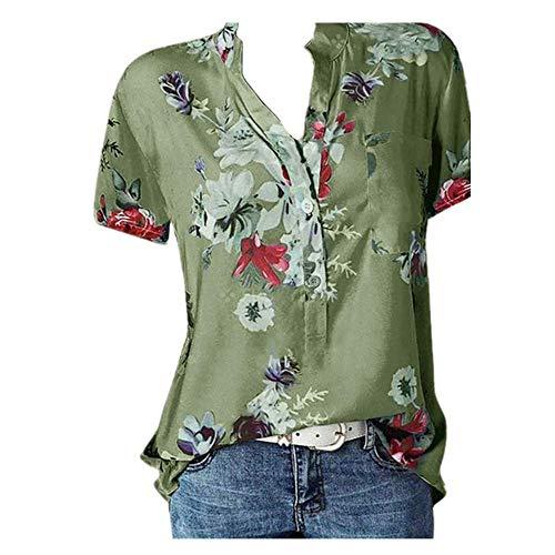 N\P Elegante camisa de mujer de impresión de gran tamaño casual camisa con cuello en V blusa de manga corta - verde - Medium