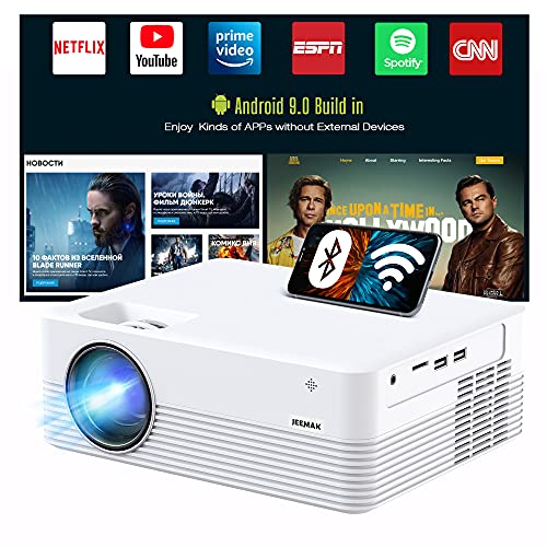 "JEEMAK Smart Projector, Android WiFi Bluetooth Projector, Mini Portable Wireless Projector, 5000 Lux, LED Video Projector for Smart Phone, HD 1080P Supported and 170"" Display, Outdoor Movie Projector"