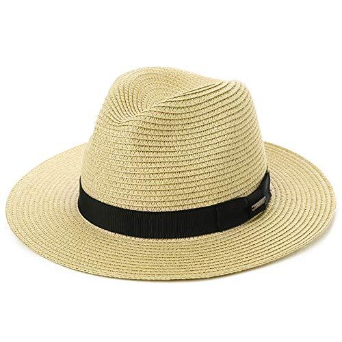 Fancet - Sombrero de paja plegable para el sol de Panamá, verano, playa, Cubano, Trilby, Hombres y Mujeres, 55-61 cm