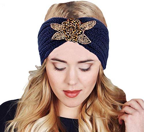 MoreChioce Bandeau Cheveux Tricoté,Femme Hiver Bandeaux Strass Perles Headband Elastique Tricot Hairwear Chaud Headwrap Hair Bande Accessoires,Fleur Marine