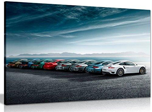 Leinwand-Kunstdruck Geschichte von Porsche 911 Turbo, A0 91x61cm (36x24in)