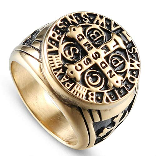 HQLCX Men's Bible Cross Ring Christian Jesus Tombstone Religious Stainless Steel Ring Men's Wedding Jewelry,Gold,7