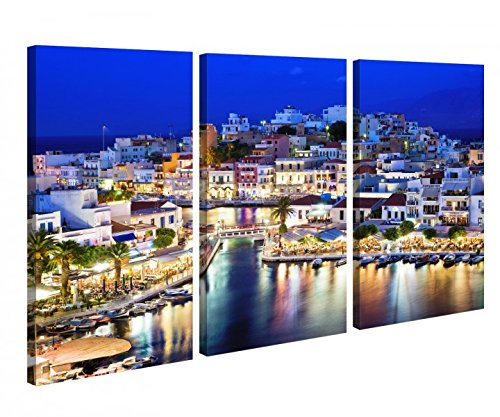 Preisvergleich Produktbild Leinwandbild 3 Tlg Kreta Griechenland blau Paradies Leinwand Bild Bilder canvas Holz fertig gerahmt 9U122,  3 tlg BxH:90x60cm (3Stk 30x 60cm)