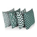 Penguin Home 3479 4 Stück abgestimmte Design-Kissenbezüge aus 100% Baumwolle, luxuriös, stilvolle Hüllen für Wohnzimmer, Sofa, Schlafzimmer mit unsichtbarem Reißverschluss, 45 x 45 cm, Grün, Green