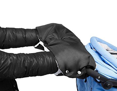 Handwärmer, Mture Handschuhe Handmuff Muff mit Fleece Innenseite, wasser- und windabweisend, atmungsaktiv Fingerwärmer, Universalgröße für Kinderwagen, Buggy, Radanhänger - Schwarz