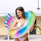 Honeyhouse, anello gonfiabile glitterato per piscina, con coda di sirena, colorato a forma di coda di sirena, colore arcobaleno, galleggianti per piscina spiaggia e feste (corona)