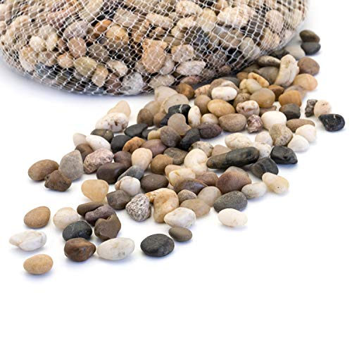 Royal Imports 5lb Small Decorative Ornamental River Pebbles Rocks for Fresh Water Fish Animal Plant Aquariums, Landscaping, Home Decor etc. with Netted Bag, Small - Natural