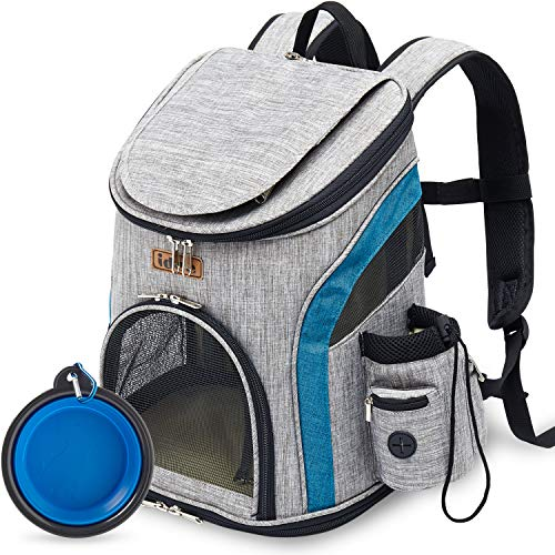 IDEE Dog Backpack Carrier for Small Dog, Cat Backpack Carrier, Pet Carrier Backpack for Small Dogs, Cat,Rabbit for Hiking Biking Camping Travel Outdoor Use,Up to 10lbs (Grey+Blue)