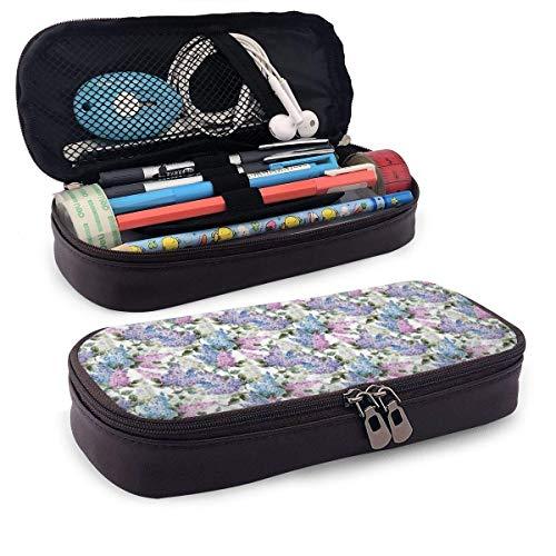 Estuche de piel para lápices, diseño de flores de color lila y florescencia en ciernes, primavera en el país, estuche para bolígrafos de oficina para estudiantes, 19,8 x 11,4 x 3,8 cm