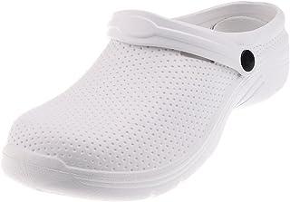 F Fityle Hommes Femmes Chef Cook Medical Infirmière Chaussures Ultralite Sabots Glissent sur Noir/Blanc - blanc, UE