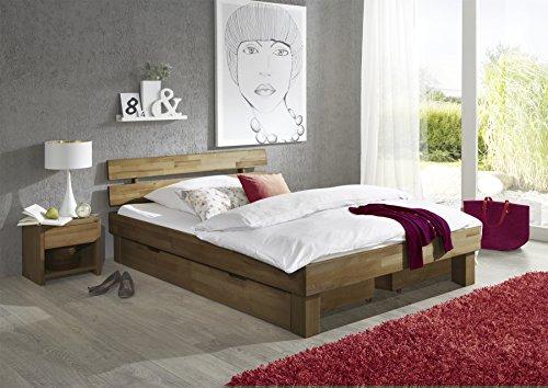 moebelstore24 Futonbett JENY Eiche-Massiv Natur geölt, 180 x 200 cm inkl. 2 x Bettkasten und 2 x Nachtkonsole