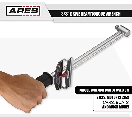 ARES 70214 - 3/8-inch Drive Beam Torque Wrench - 0-800 Inch/Pounds and 0-90 Newton/Meter Torque Wrench - High Visibility Markings for Easy Readings