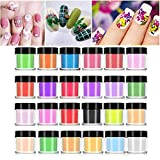 Poudre à ongles, 24 couleurs ensemble de poudre acrylique, 3D Gel UV Poudre Ongles Glitter Crystal Nail Art Tips Nail Art Decoration Builder Acrylic Manicure Tool de l'art d'ongles