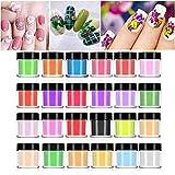 Polvere per unghie 24 colori, Acrilici Nail Art Suggerimenti Gel UV Intaglio Polvere Design...