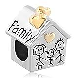 Pandora Charms Similar Style - Abalorio de pulsera, diseño de casa con texto Family