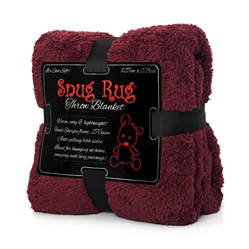 Snug Rug Véritable Tapis Douillet Couverture de Luxe à Chaud à Jet Polaire Sherpa (Mulberry Rouge)