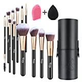 Qivange Makeup Brushes, Flat Foundation Blush Eyeliner Eyeshadow Brushes with Holder+Makeup Sponge & Brush Cleaner, Professional Makeup Brush Set for Valentines Day Gifts(12 pcs, Black with Rose Gold)