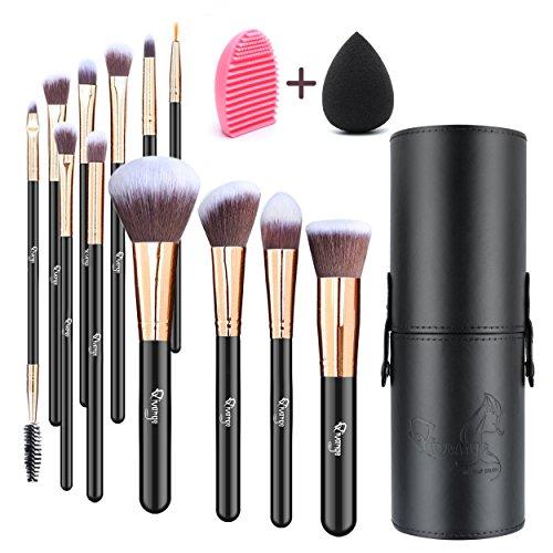 Qivange Makeup Brushes, Flat Foundation Blush Eyeliner Eyeshadow Brushes with Holder+Makeup Sponge & Brush Cleaner, Professional Makeup Brush Set for Valentines Day Gifts(12 pcs, Black with Rose Gold)