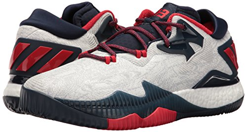 adidas Men's Crazylight Boost Low Basketball Shoes, White/Light Scarlet/Collegiate Navy, ((14 M US)