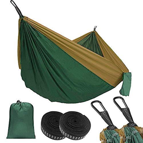 Eastshining Hamaca Colgante 270 * 140cm 300kg Capacidad de Carga 210T Ultra Ligera Nylón de Paracaída Portátil y Transpirable,Ideal para Viaje, Jardín, Camping (Verde+Marrón Claro)