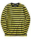 Striped Shirt Men Long Sleeve(XL,Black&Yellow Wide)