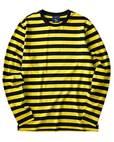 Striped Shirt Men Long Sleeve(L,Black&Yellow Wide)