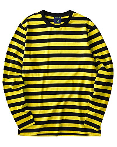 Striped Shirt Men Long Sleeve(XL,Black&Yellow Wide)