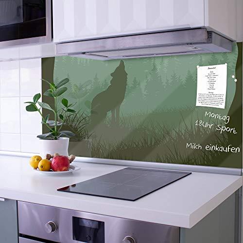 banjado Glas Nischenrückwand für Küche 100cm x 50cm | Küchenrückwand mit Motiv Heulender Wolf | Spritzschutz selbstklebend ohne Bohren | Fliesenspiegel magnetisch und beschreibbar