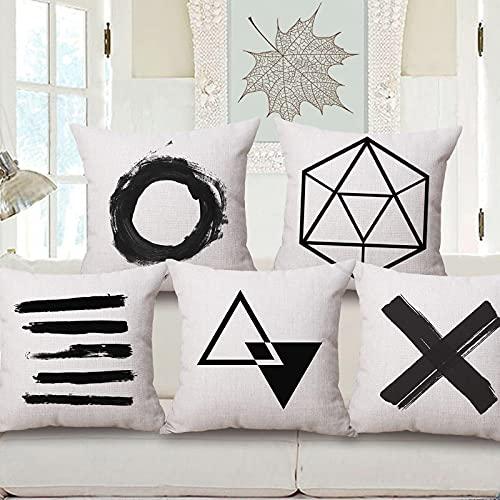 Lyotreiocvniszx Black and white geometric letters square decorative pillowcase polyester cushion cover bedroom sofa 45 * 45