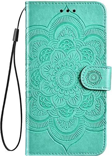 Hpory Cover Nokia 3.2, Custodia Nokia 3.2 Case Folio Flip Stile Pelle Libro Custodia con Magnetic Closure Paraurt, Tinta Unita Cover con Supporto di Stand/Strap/Carte Slot in Protettiva, Verde