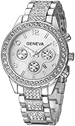 C-Silver Crystal Diamonds Calendar Quartz Watch with Stainless Steel Link Bracelet