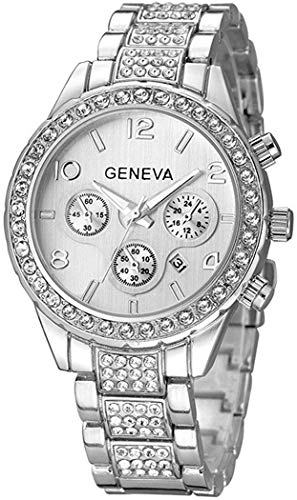 Unisex Luxury Pave Floating Crystal Diamonds Calendar Quartz Watch with Stainless Steel Link Bracelet (C Silver)