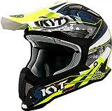 KYT YSEA0017.3 Casco de Moto Cross Off-Road Strake, Color Blanco Mate, Hombre, Web Matt White/Blue, Small