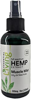 O2 Living Hemp Muscle Mist 100 mg Spray Pain Relief CO2 Extraction with Camphor & Menthol for Rapid Muscle & Joint Soothing - Alleviate Inflammation
