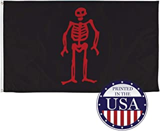 Vispronet Pirate Flags Jolly Roger Collection – Spriggs/Low 1721-1724, Red Skeleton Flag – 3ft x 5ft Knitted Polyester and Flame-Retardant Flag – Made in The USA