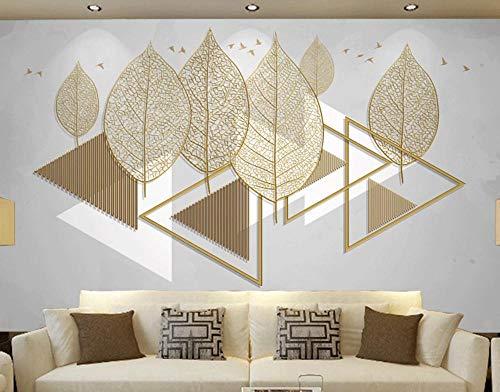 Papel Pintado 3D Línea De Hojas Geométricas Creativas Pájaros Fotomurales Salón Dormitorio Decorativos Pared Murales,350cmx250cm