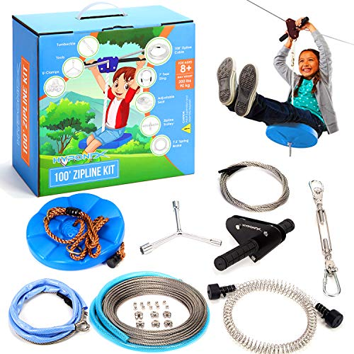 100' Zipline Kits for Backyard for Adults and Kids - 100% Stainless Steel - Zipline for Kids - Backyard Zipline Kit for Kids - Zipline Trolley - Kids Zipline - Outdoor Play Equipment for Kids