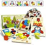 IMMEK Jouet Enfant 3D Puzzles en Bois 1 2 3 4 5 Ans Montessori Educatif Garçon et Fille Jeux Bébé Cadeau Animaux Puzzle 6 Morceaux à Encastrements avec Cadre Animaux et véhicules Toys, Multicolore
