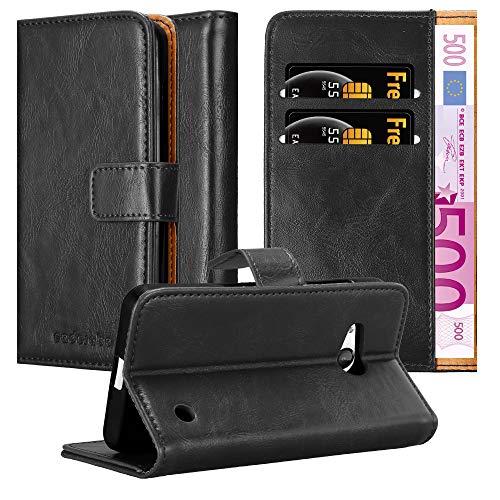 Cadorabo Hülle für Nokia Lumia 550 - Hülle in Graphit SCHWARZ – Handyhülle im Luxury Design mit Kartenfach & Standfunktion - Case Cover Schutzhülle Etui Tasche Book