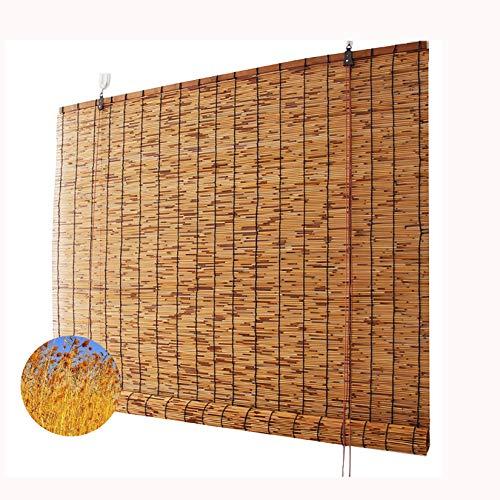 Estores Enrollable Bambú, Persiana enrollable caña natural carbonización, Cortina enrollable, Partición privacidad, Parasol, Ventilación, Anti-UV, para exteriores, interiores,125x180cm/49x71in