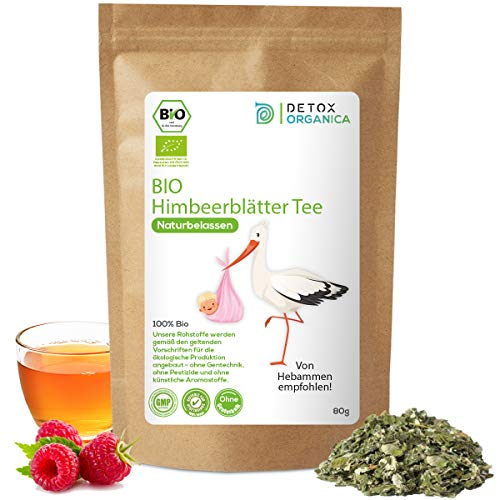 HIMBEERBLÄTTERTEE BIO - 100% naturbelassen - in Deutschand hergestellt / 80g Himbeerblätter Tee - bei Schwangerschaft mit Hebamme abstimmen / Raspberry Leaf Tea / Premium Qualität von Detox Organica