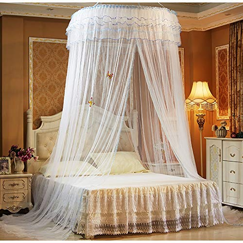 ZDYLM-Y Moustiquaire Ciel de lit, Lit à baldaquin Ronde Rideaux Dôme Romantique Moustiquaire, utilisez pour Couvrir Le lit de bébé, Kid lit, Filles lit ou Full Size Bed,White