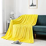 JIAHANNHA Flannel Fleece Blanket Throw Size(50x60 Inches),Yellow Throw Blanket for Couch Sofa Bed 280GSM,Super Soft Plush Cozy and Lightweight Warm Bed Blanket for All Season