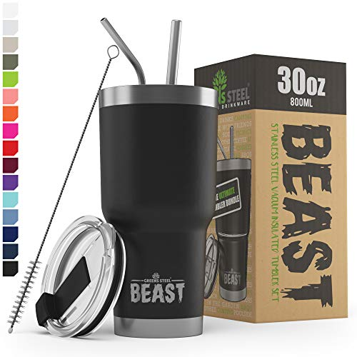 BEAST 30 oz Black Tumbler - Stainless Steel Vacuum Insulated Coffee Cup Double Wall Travel Flask (30...