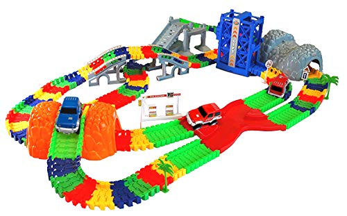 MMP Living Super Snap Speedway - Deluxe Bend and Flex Track Set with 3 Electric Cars, Tunnels, Bridge, Elevator, ramp, Track Merge and Accessories - Over 300 Pieces