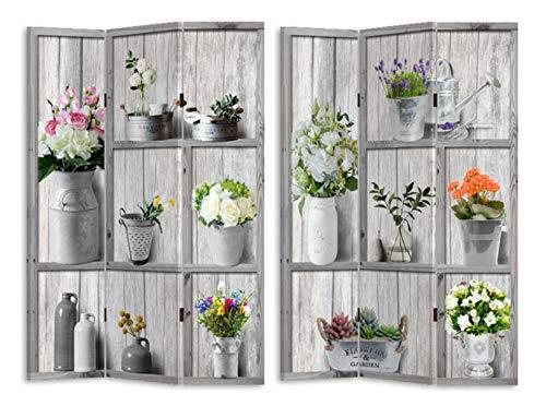HTI-Line Paravent Flora Sichtschutz Spanische Wand Raumteiler