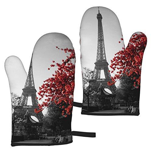 VBHGHFF Guantes de horno con diseño de Torre Eiffel de París, diseño de flores rojas, guantes modernos para microondas, barbacoa, horno y horno, resistentes al calor (juego de 2 manoplas)