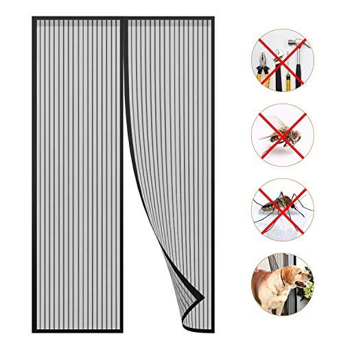 Puerta De Pantalla Magnética,Mosquitera magnética Puerta Bug Off Screen Screen Anti Mosquito Bugs Cortina de Malla para Evitar Que los Insectos vuelen - Negro 160x200cm (63x79inch)