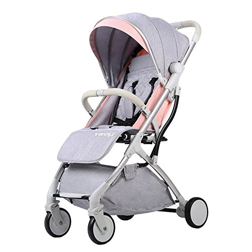 Buy Bargain Qivor Baby Carriage 4-Wheel Baby Carriage Ultra-Light Portable to Sit Reclining Folding ...