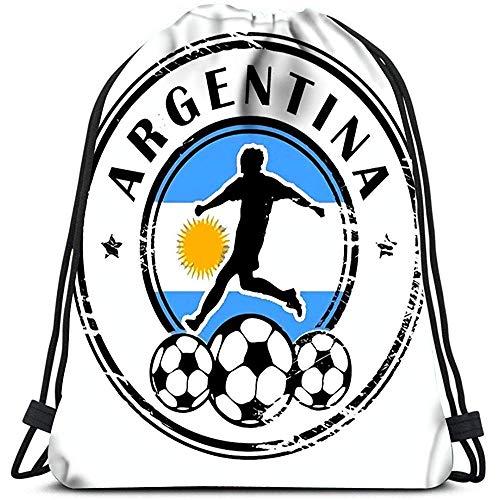 AllenPrint Drawstring Bag,Sello De Grunge con Fútbol Y Nombre Argentina Mochilas para Estudiantes Cómodas para Adultos Escalada Viajando